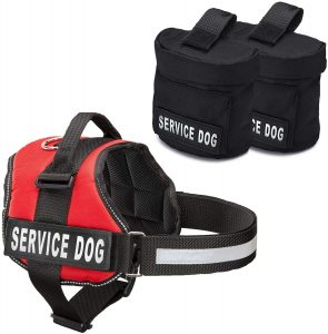 Industrial Puppy Service Dog Vest with Hook and Loop Straps and Detachable Backpacks - Harnesses in 7 Sizes from XXS to XXL - Service Dog Harness Features Reflective Patch and Comfortable Mesh Design
